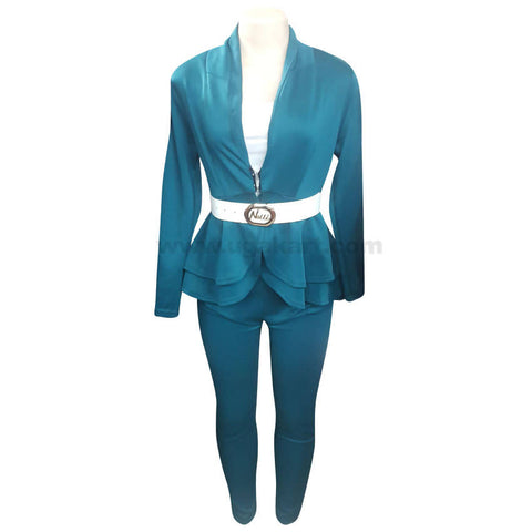 Women's Turquoise Green Jump Suit with White Belt