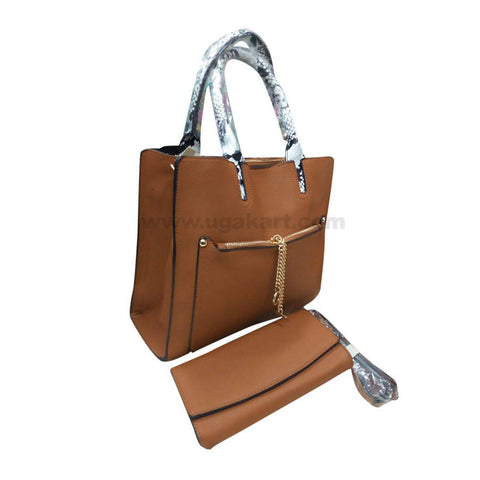 Brown Classic Set of Two Women'S Hand Bag