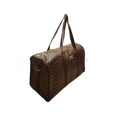 Leather Travel Bag Brown Checked Light Brown