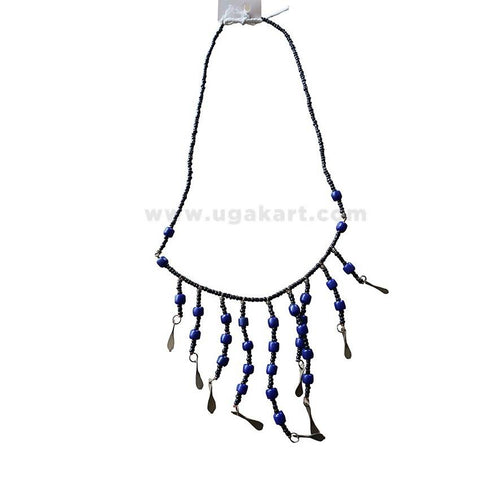 Women's Beaded Blue and Black Color Necklace