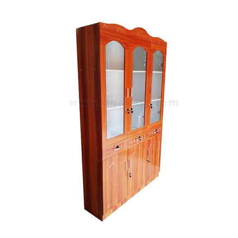 3 Door Wooden Wardrobe With Mirrors & Drawers - Brown