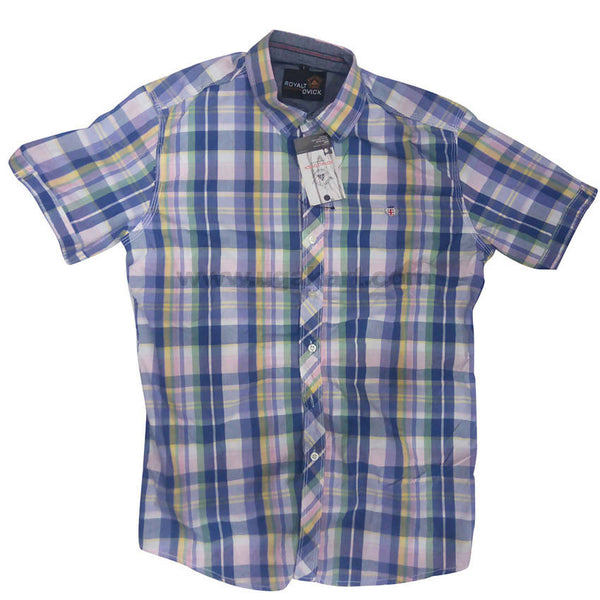 Blue And White Formal Regular Fit Check Half Sleeve Shirt For Men