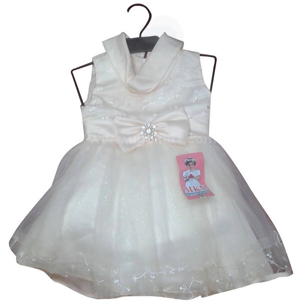 Cream Girls Dress with Bow Strap (2-5yrs)