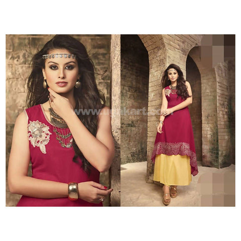 2 Piece Long Dress (Inner in Yellowish Cream and Top in Dark Pink) - Size 2XL