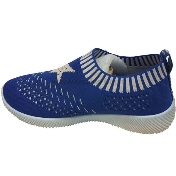 BOB Dark Blue and White Elastic Shoes For Kids