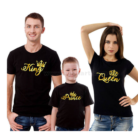 Prince, King, Queen Printed Black T-Shirts