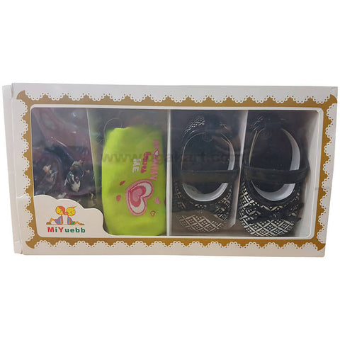 Dark Color Shoes,Bib & Hair Band Combo For Baby Girl- 0 to 6 months