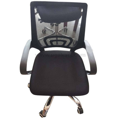 Black and Stainless Steel Type 1 Rolling Chair For Office