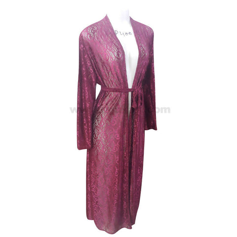 Women's Maroon Glitter Waist Strap Long Sleeve Dressing Gown