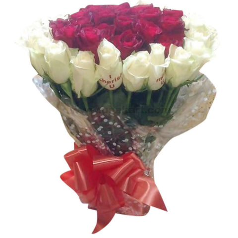 White and Red Rose Flower Bouquet