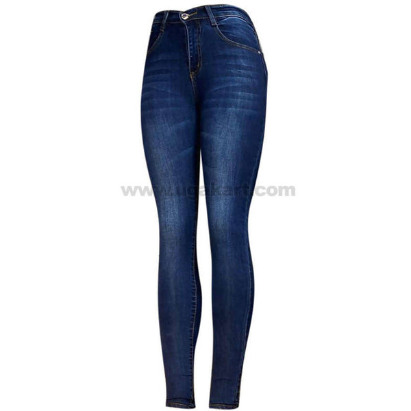 Navy Blue Shaded Skinny High Waisted Women's Jeans