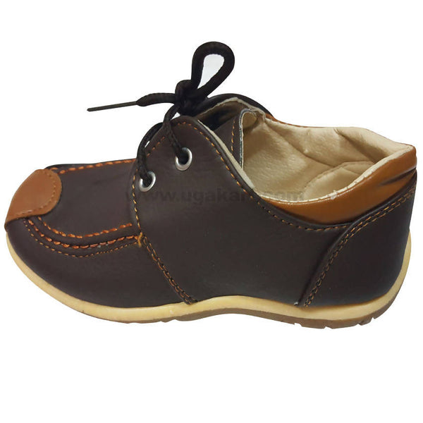 Faux Leather Dark Brown and Brown Shoes With Laces For Kids