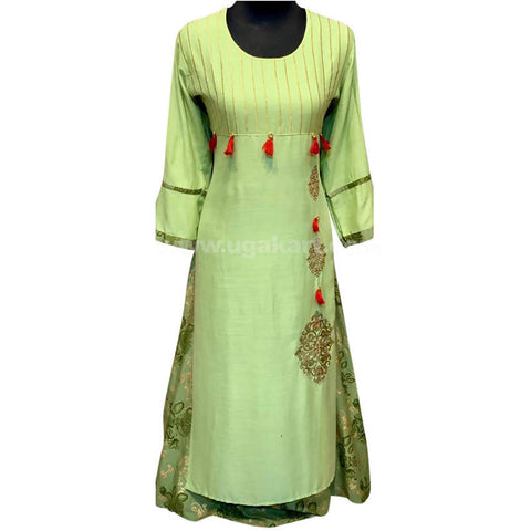Lime Green Free Rounded Printed Long Dress For Womens