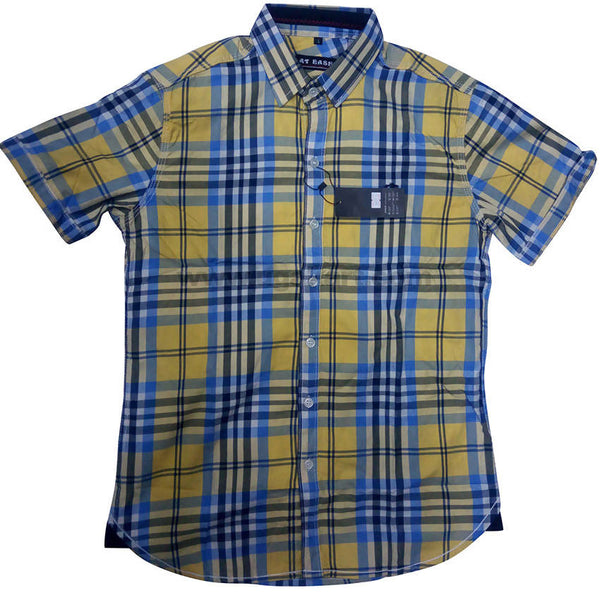 Dull Yellow Half Sleeve Check Shirt For Men
