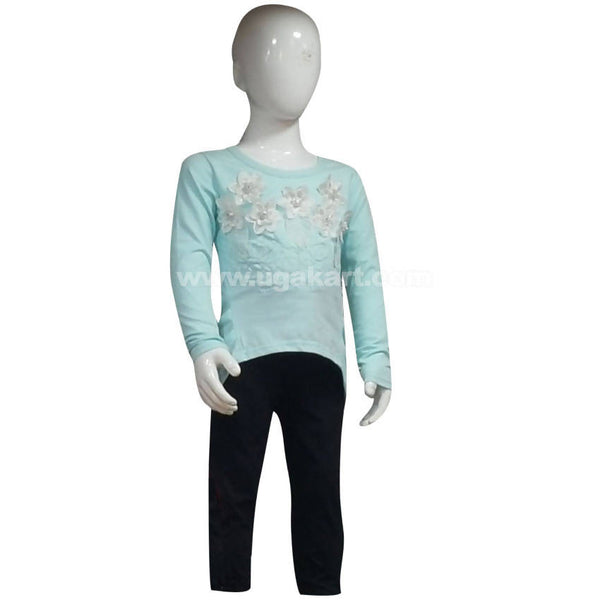 Girl's Long Sleeve with White Roses Top & Black Pant (5 to 8 yrs)