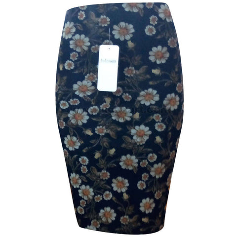 Women's Black with White Floral Design Short Skirt