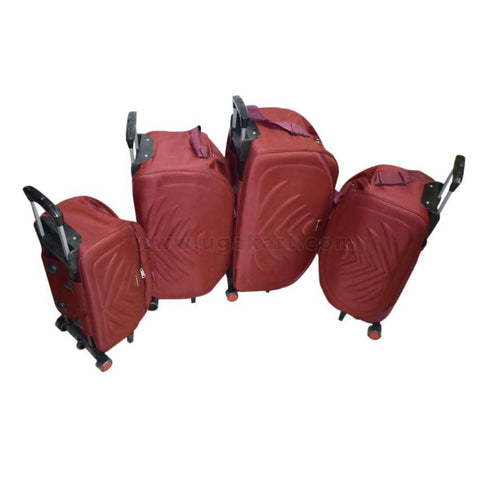Red Carry on Travel Luggage Trolley Set of 4