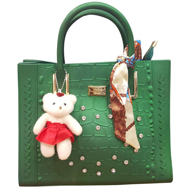 Green Ladies Hand Bag With Small Teddy