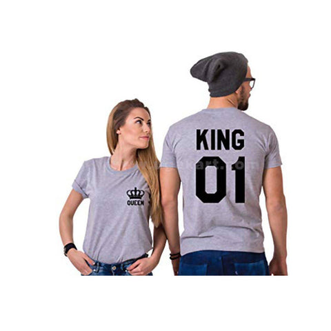 Classic Printed King And Queen Grey T-Shirts