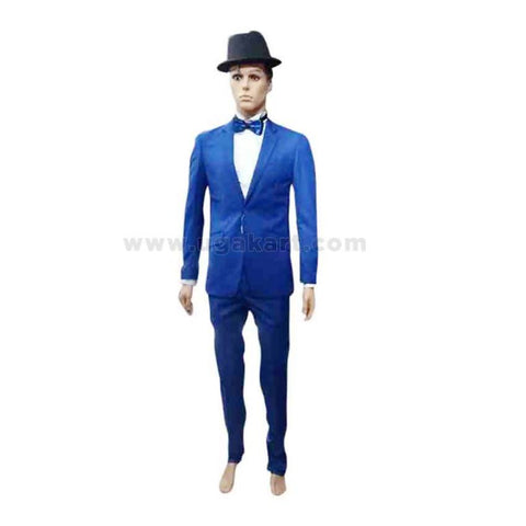 Blue Mens Suit With White Shirt And Bow Tie