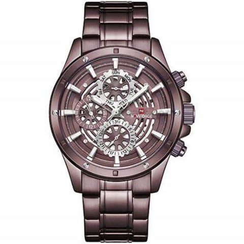 Naviforce Brown Dial Steel Analog Men's Watch
