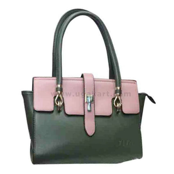 Dark Green & Pink Womens Hand Bag