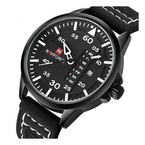 NaviForce Black and White Watch With Date