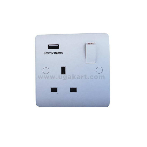 SEF-5011 - 13A - 1 Gang Switch Socket with USB Outlet 2.1AMP