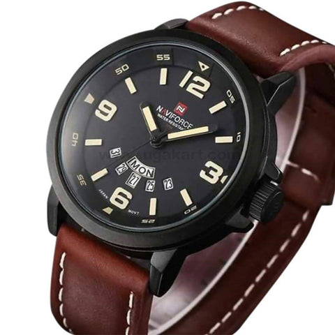 Naviforce Black Dial With Brown Belt Men's Watch