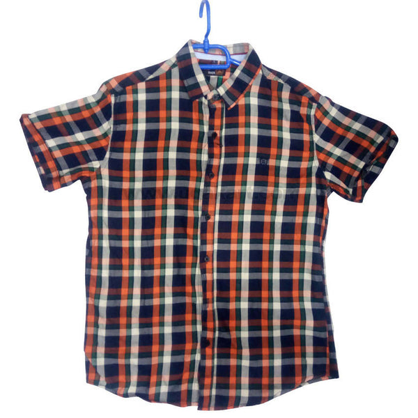 Brown Half Sleeve Check Shirt For Men
