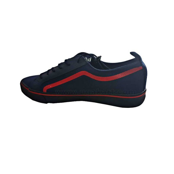 Mens Lace Detailed Low Top Sneakers - Black & Red