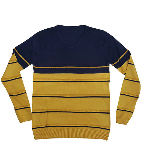 Men's Striped Sweater_Yellow and Blue