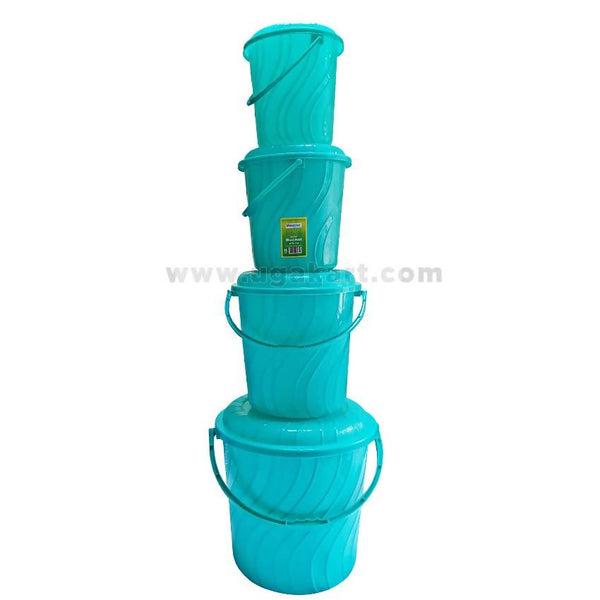 Plastic Buckets 4 Pcs - Light Blue