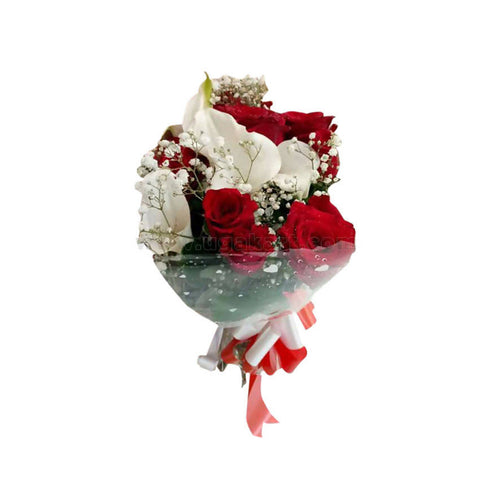 Charming Red Roses With White Flowers Bouquet