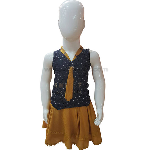 Navy Blue & Camel Brown Dress For Girl Kids 1 to 3 yr