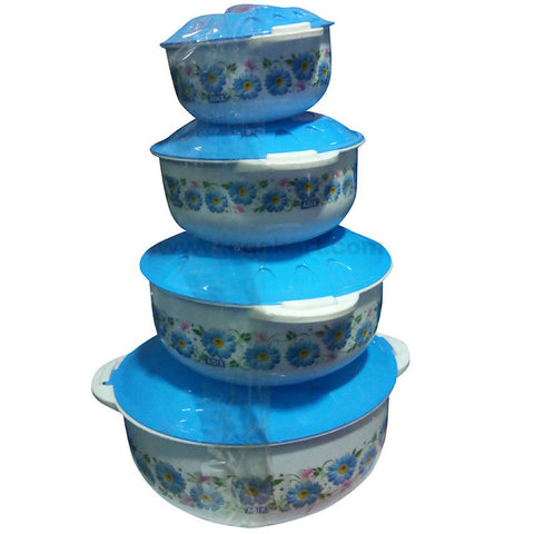 Plastic Food Container with Blue Lid - Set of 4