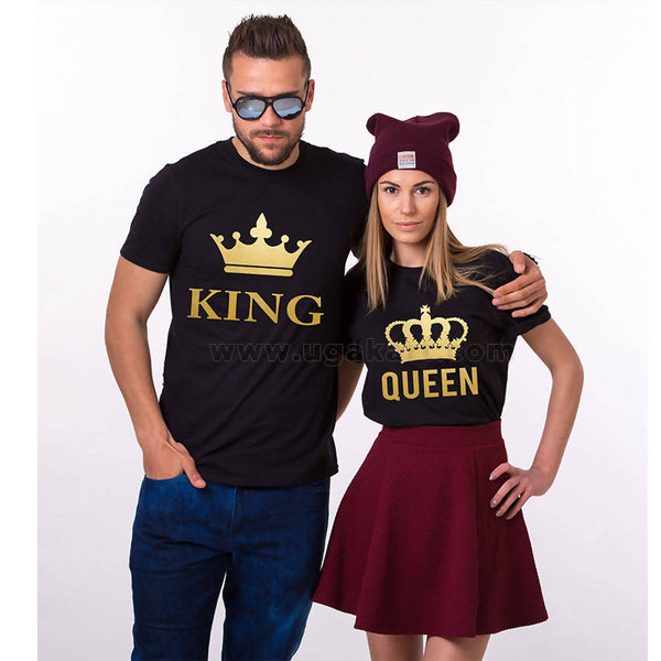 Crowned King, Queen Printed T-Shirts Black