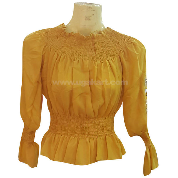 Women's Yellow Ruffle Top