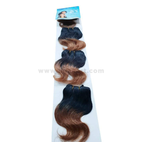 Human Hair-Black & Brown -4 Pc With 6 Inch