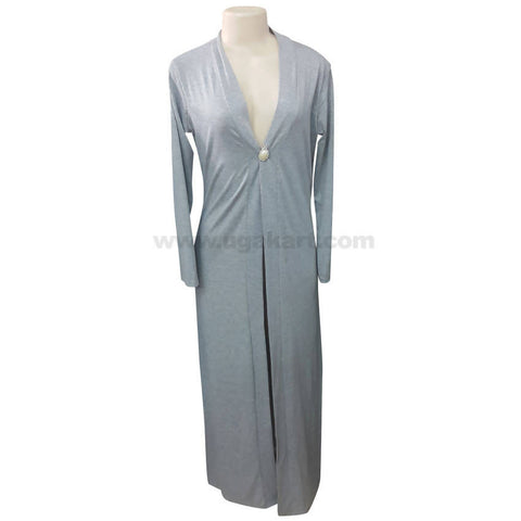 Women's Grey One Button Long Sleeve Dressing Gown