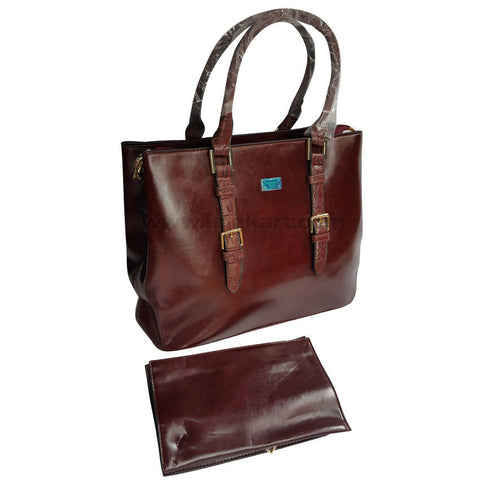 Coffee Brown 2Pcs Hand Bag