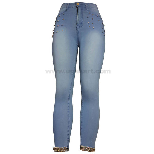 Sky Blue Denim Jean With Beeds