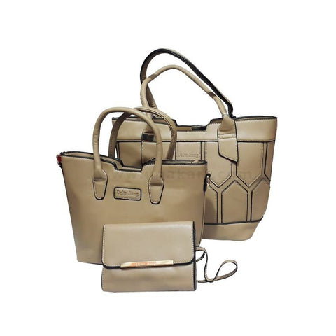 3-In-1  Delta Jiang Leather Handbag - Light Brown