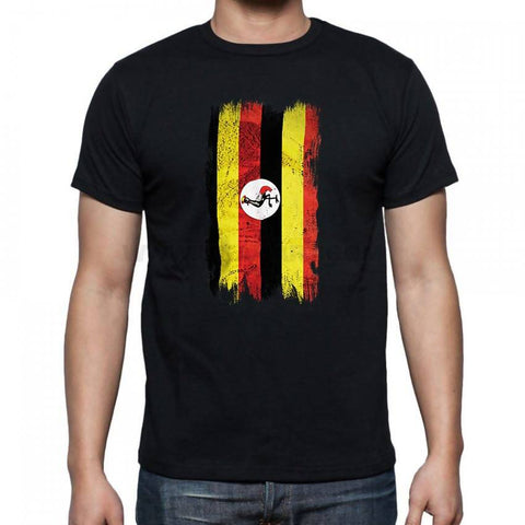 Uganda Flag Men's T-Shirt - Black