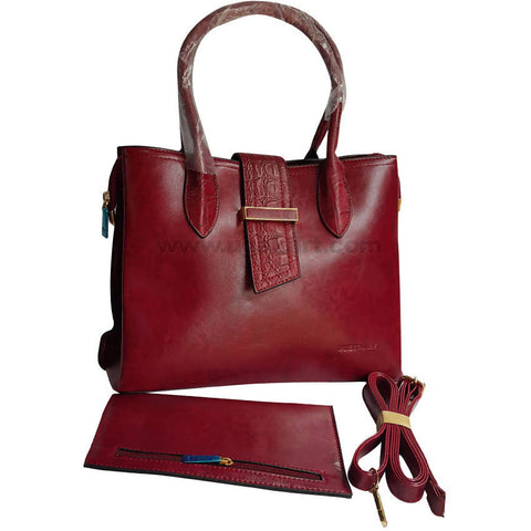 Jane Stanley Maroon Hand Bag Set of 2