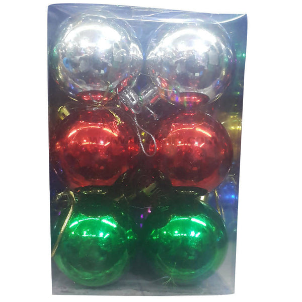 Christmas Decoration Balls Silver, Red and Green 12pc