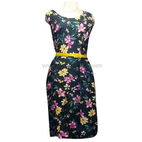 Women's Black & Multi Color Floral Dress