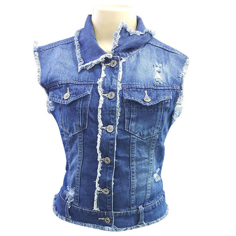 Women's Casual Sleeveless Button Down Jean Shirt