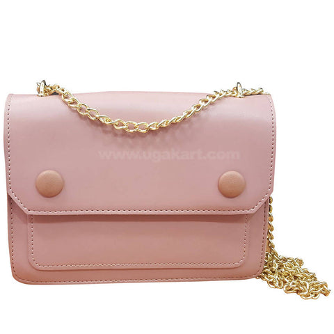 Pink Womes Wallet with Golden Chain