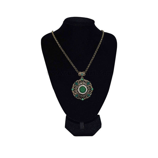 Antic Necklace with a Green Bead